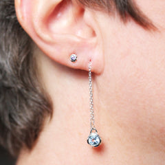 Tiny Moissanite Stud Earrings - Rose Gold