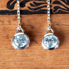 Ice Blue Topaz Threader Earrings