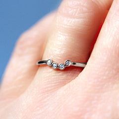 Moissanite Shadow Band, Sterling Silver