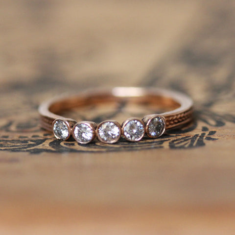 Five Stone Moissanite Wheat Rose Gold Ring, Size 7.5