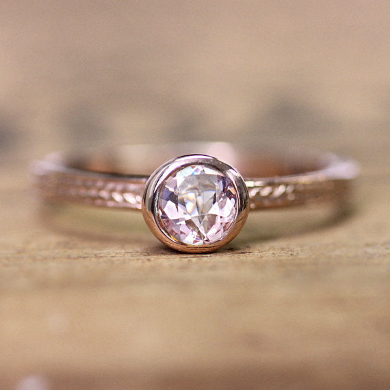 14k Rose Gold Morganite Wheat Ring, sz 7