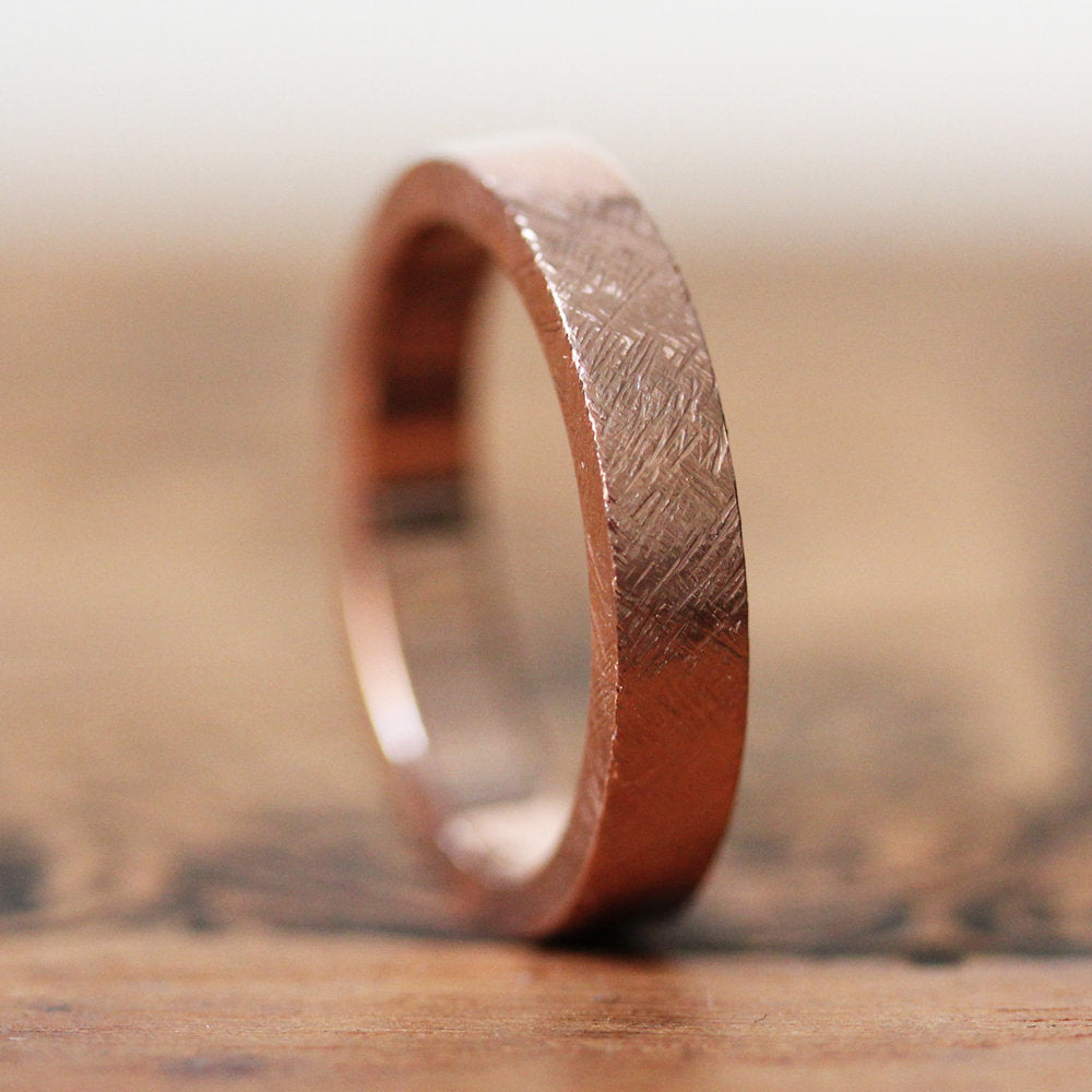 Rose Gold Satin or Rustic Finish Flat Wedding Band