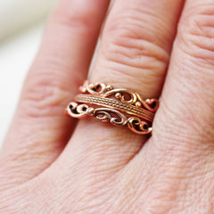 Organic Rose Gold Stacking Ring Set