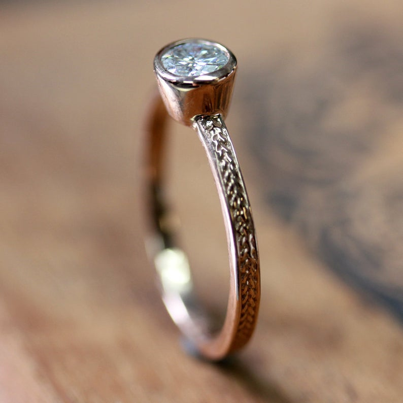 Rose Gold Moissanite Engagement Ring, Wheat
