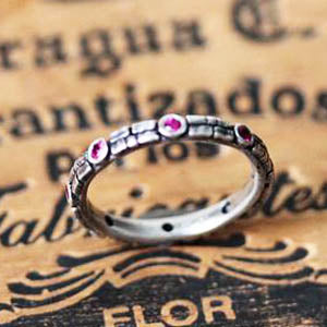 Ruby Cobblestone Ring, Sterling silver, size 5.75