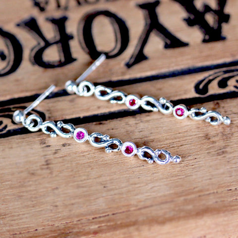 Ruby Infinity Long Drop Earrings