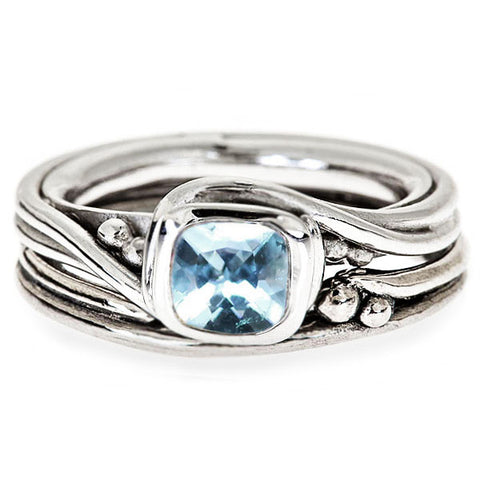 Unique Swirl Engagement Ring, Aquamarine Pirouette