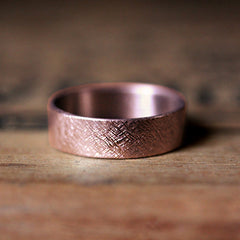 Rose Gold Rustic Wedding Band 14k