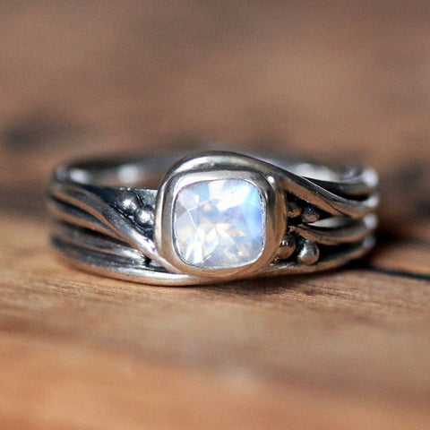 Rustic Engagement Ring, Moonstone Pirouette Set