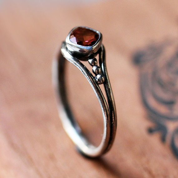 Red Garnet Ring, sterling silver