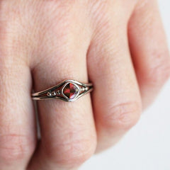 Red Garnet Ring, Ready to Ship