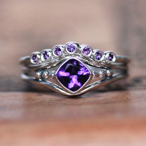 Close-up of handmade sterling silver ring set with amethyst from Metalicious