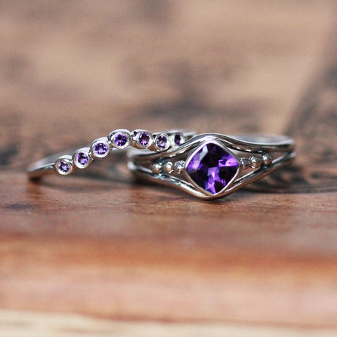 Sterling silver amethyst ring set from Metalicious stacked