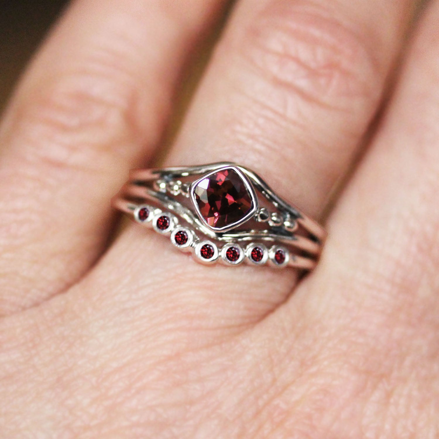Sterling Silver Garnet Satellite Ring Set