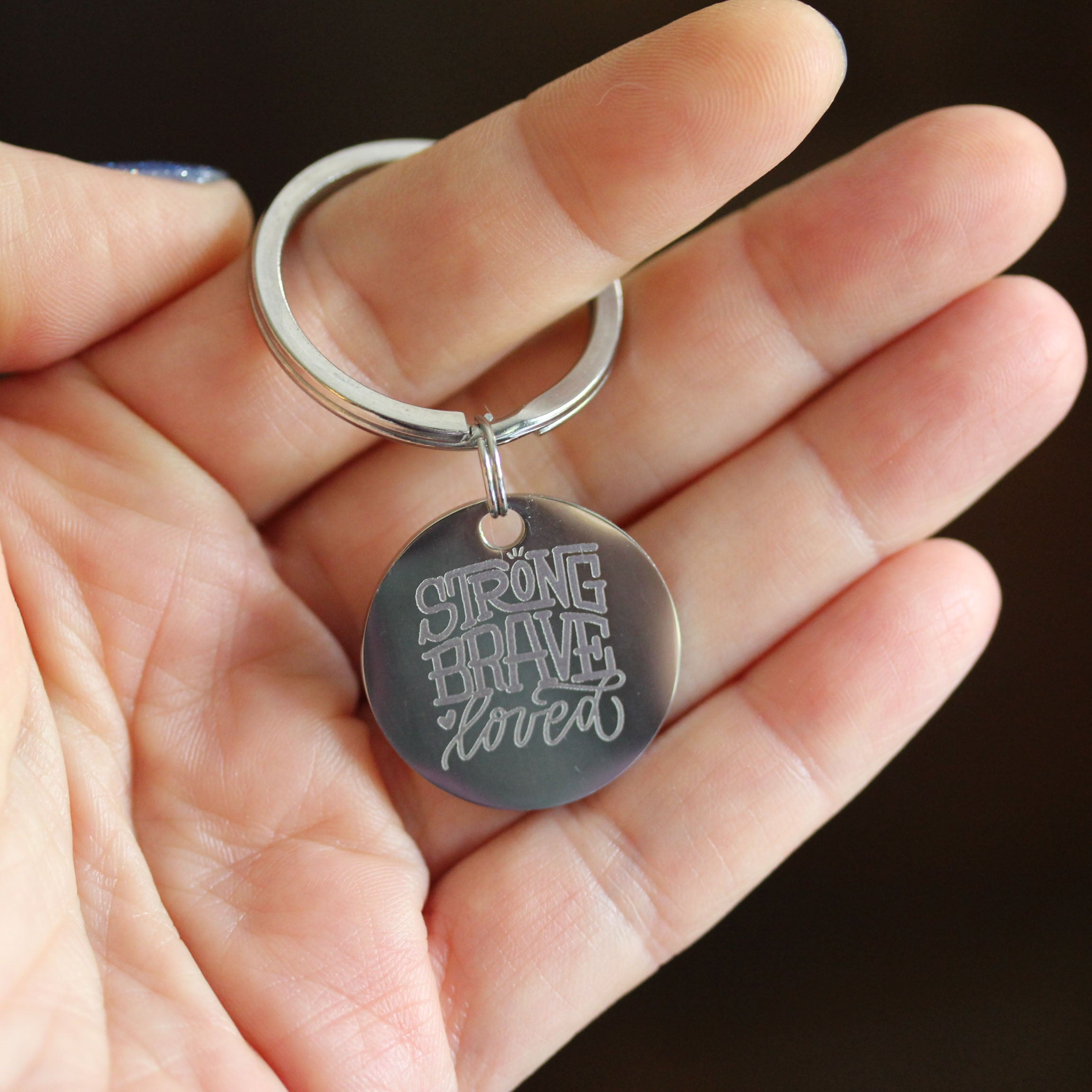 Breast Cancer Awareness Keychain - Strong Brave Loved