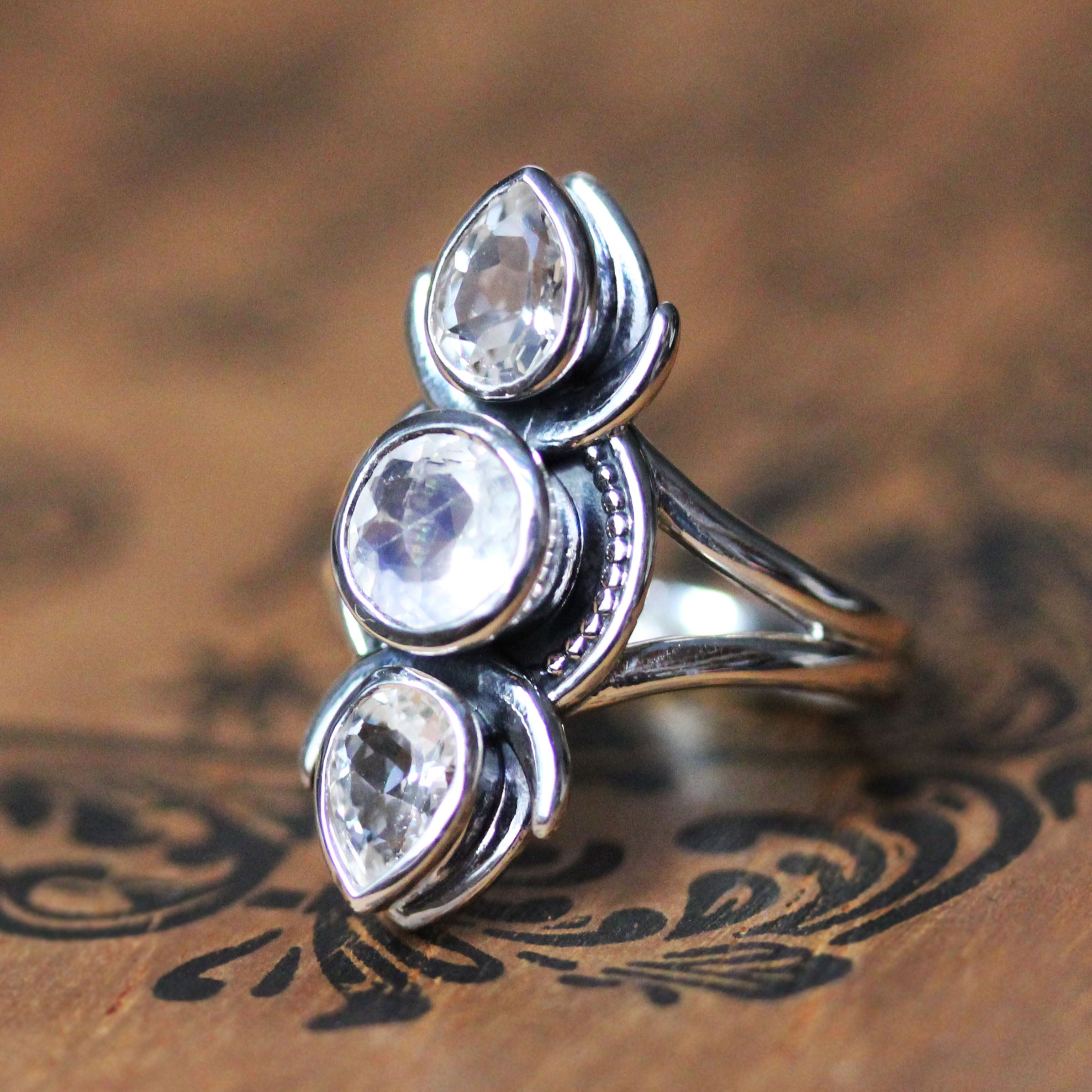Moonstone and Topaz Multi Stone Ring in Sterling Silver, Selene