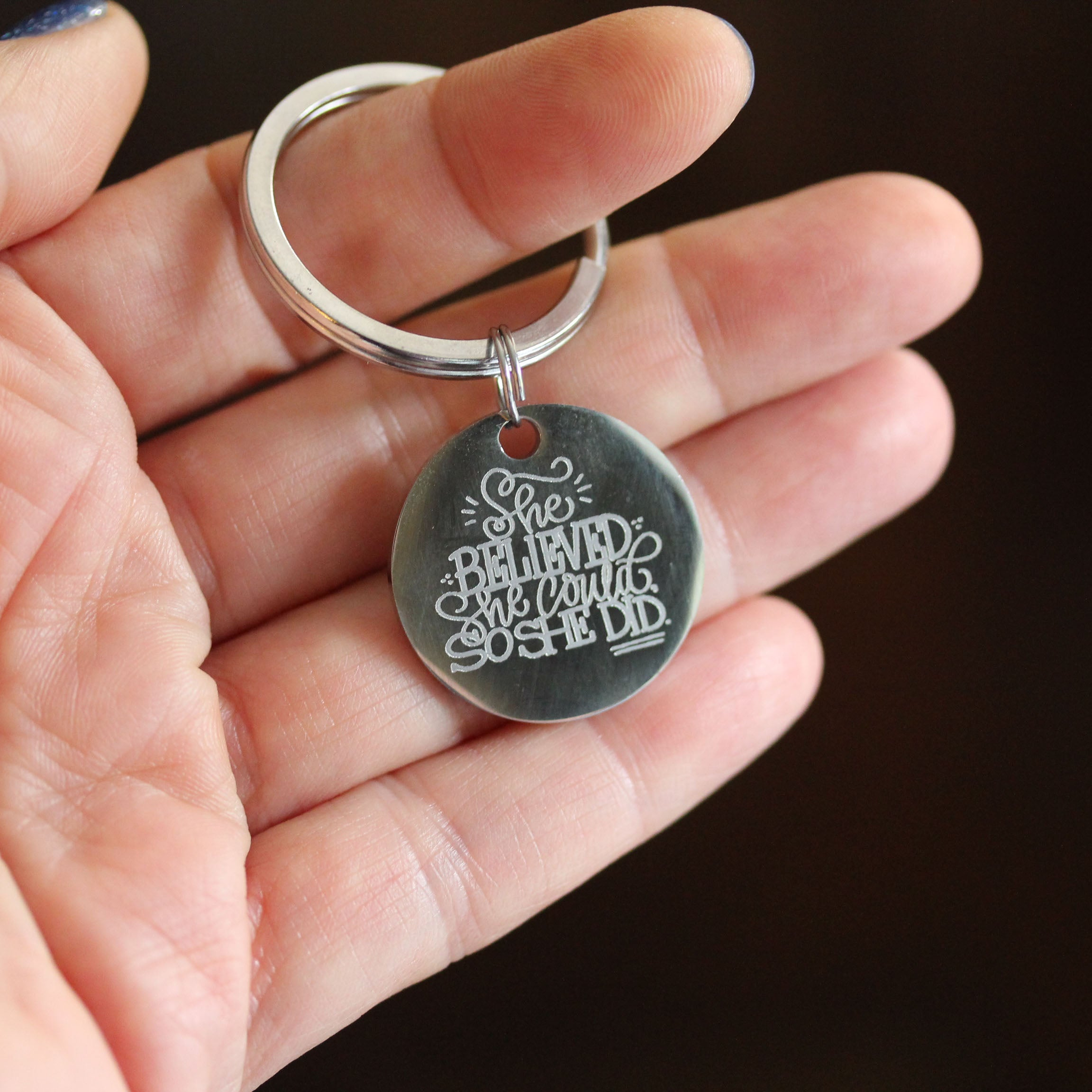 Breast Cancer Awareness Keychain - She Believed She Could So She Did