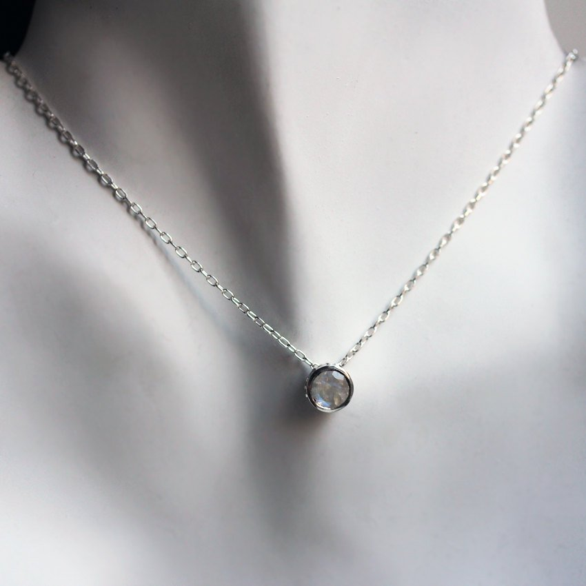Rainbow Moonstone Bezel Necklace Silver Wrought