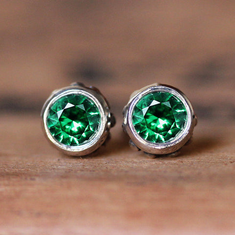 Emerald Birthstone Silver Stud Earrings