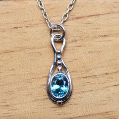 Blue Zircon Pendulum Necklace