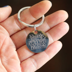 Breast Cancer Awareness Keychain - Strong Powerful Fearless Warrior