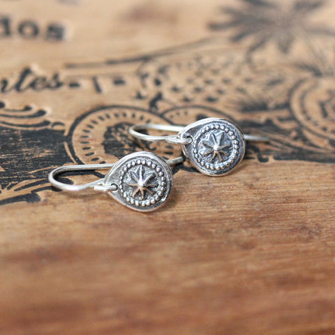 Silver Starburst Dangle Earrings