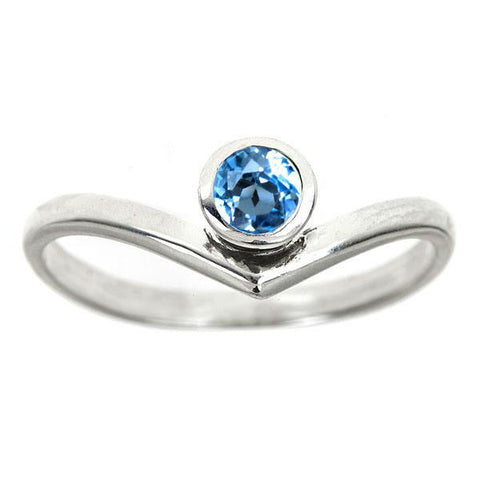 Chevron Ring, Swiss Blue Topaz Arrow Ring, size 9