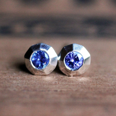 Tiny Modern Tanzanite Stud Earrings