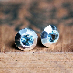Modern Blue Topaz stud earrings