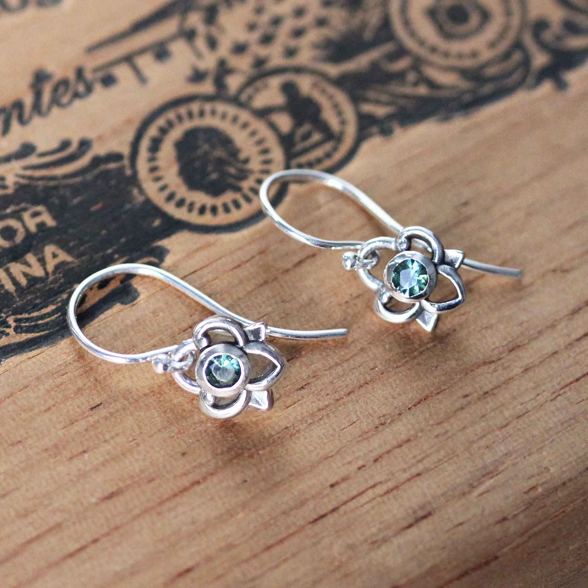 Green Tourmaline Petals Earrings, sterling silver