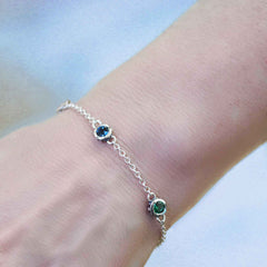 Multi Gemstone Station Bracelet, Sterling Silver