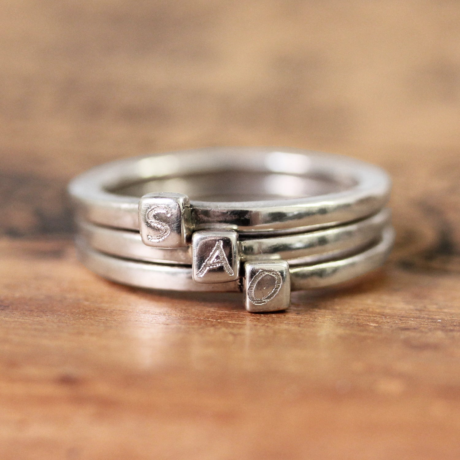 Modern Monogram Initial Ring, sterling silver