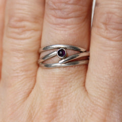 Tiny Amethyst Stacking ring, sterling silver, size 7.5