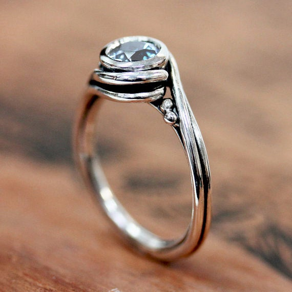 Rainbow Moonstone Engagement Ring Silver, Pirouette
