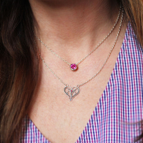 Artisan Heart Necklace, Lace heart