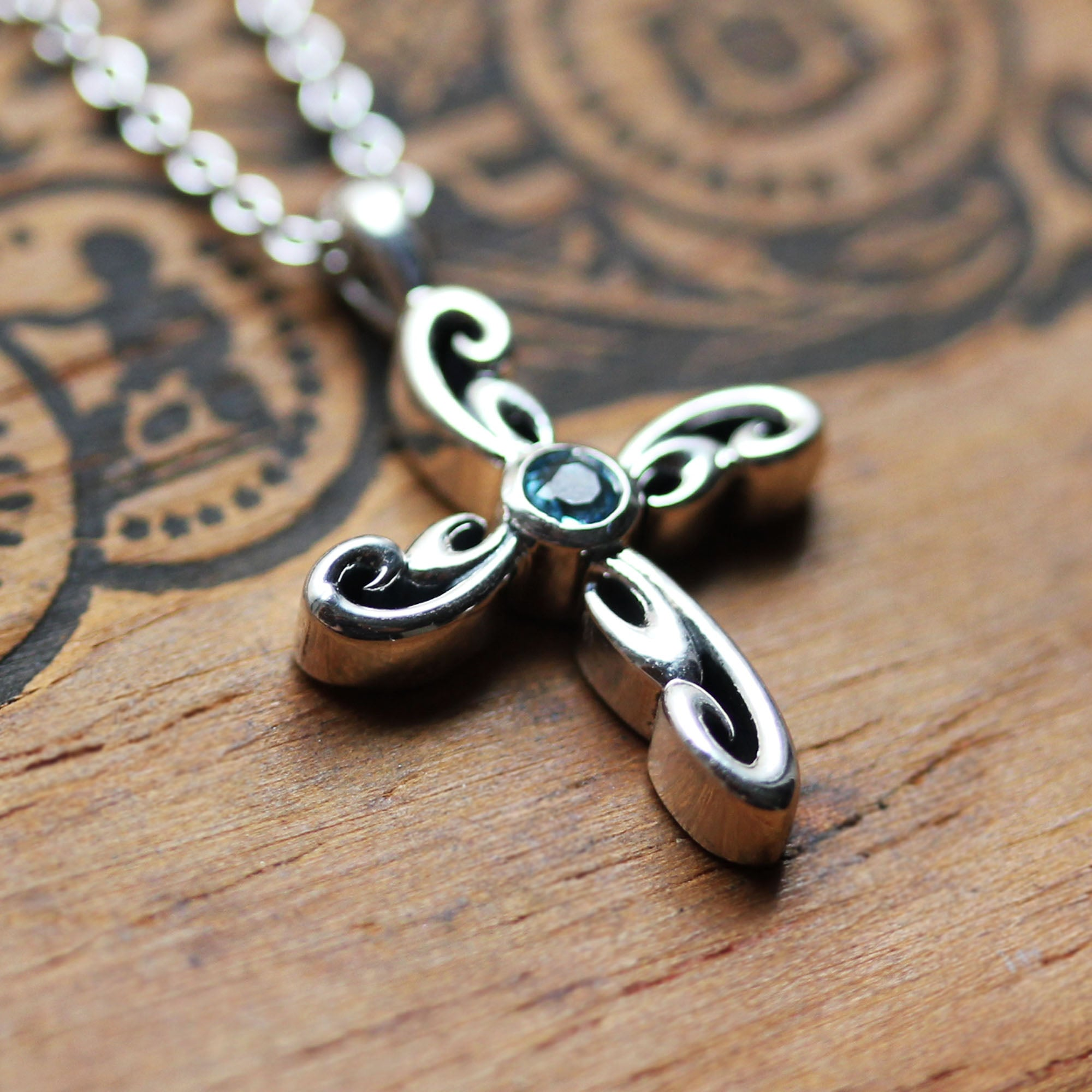 Silver Swirl Cross Necklace, Water Dream