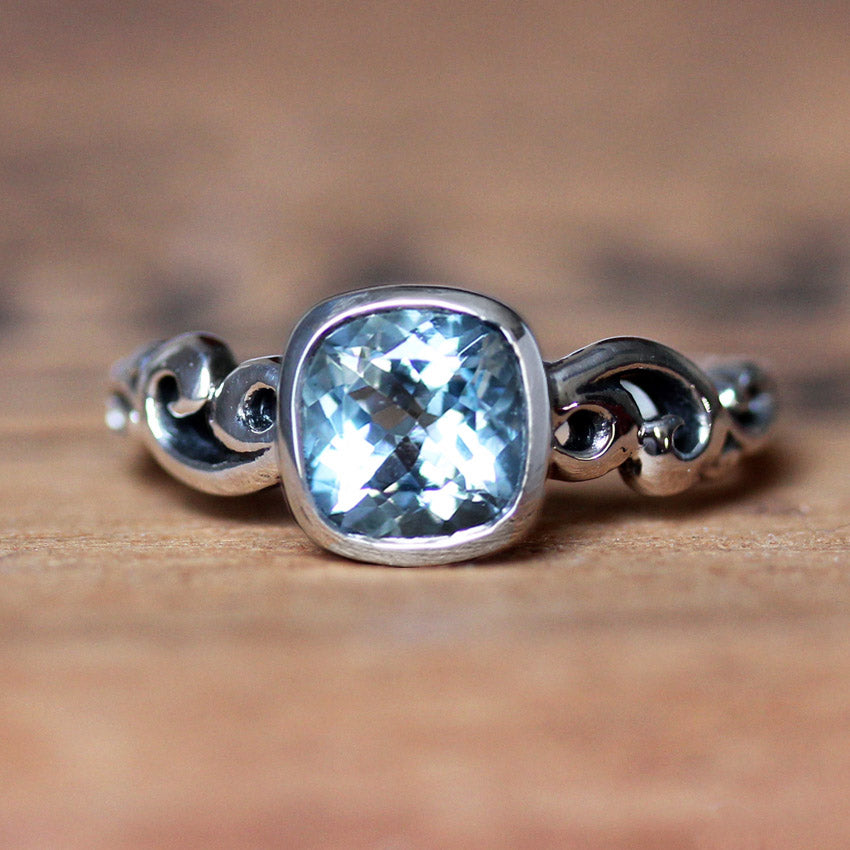 Aquamarine Ring Sterling Silver, Water Dream