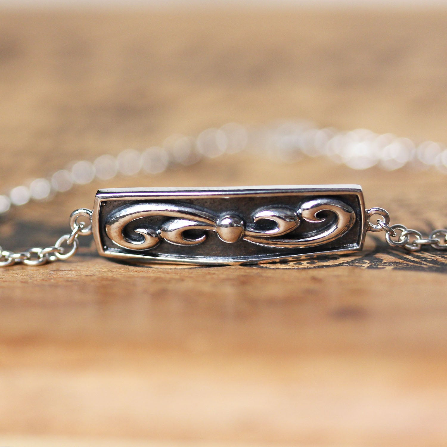 "Swirly Wave I.D. Bracelet - 7"" length"