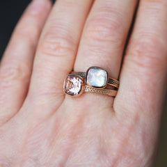 Morganite Cushion Ring, 14k Yellow Gold