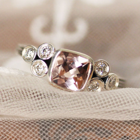 Morganite Cushion Ring with Moissanite Accents, Sterling Silver