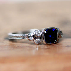 Sapphire Cushion Ring with Moissanite Accents, 14k white gold