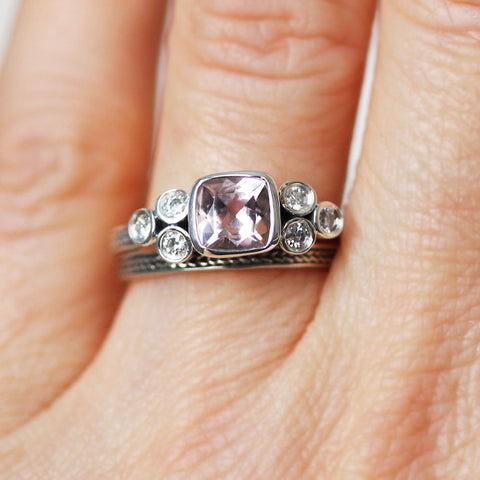 Morganite Ring Set with Moissanite Accents, Sterling Silver
