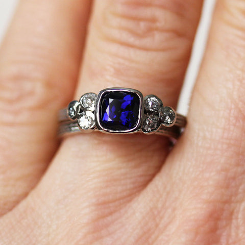 Sapphire Ring Set, Moissanite Accents, 14k white gold