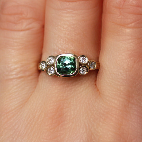 Green Tourmaline Cushion Ring with Moissanite Accents, 14k gold
