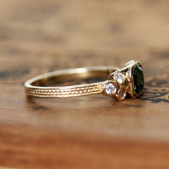Green Tourmaline Engagement Ring Set with Moissanite Accents, 14k gold