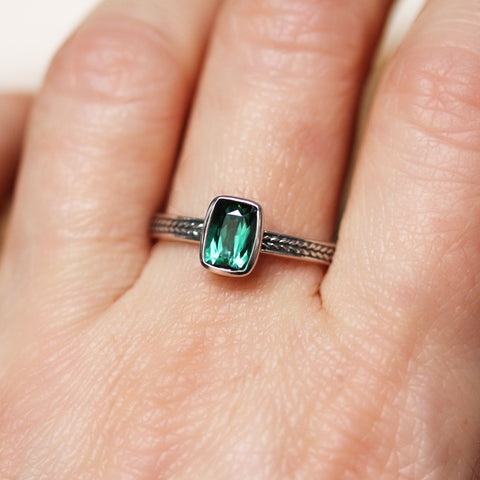 Green Tourmaline Bezel Ring, Cushion Wheat Ring