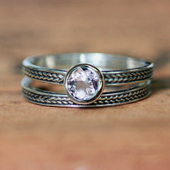 Morganite Engagement Ring, Sterling Silver Braid Wheat Band