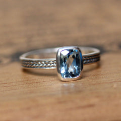 Natural Aquamarine Ring, Braided Ring Cushion Cut