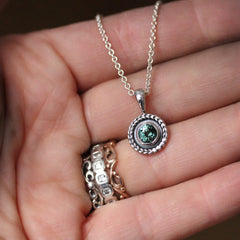 Silver Green Tourmaline Wheat Necklace