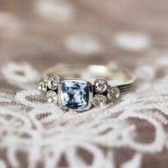 Aquamarine Cushion Ring with Moissanite Accents, Sterling Silver